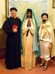 "Cast: three postulants in the play ""Our Lady of Guadalupe"""